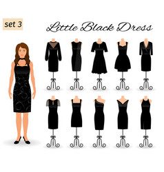 Stylish woman character in little black dress set vector