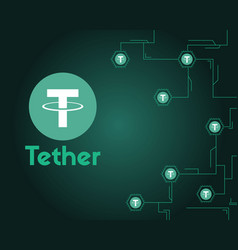Tether cryptocurrency digital technology vector