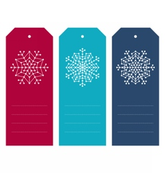 Set of christmas tags with geometric snowflakes vector