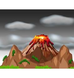 Nature scene with volcano eruption vector
