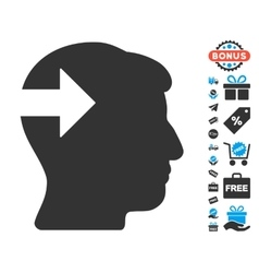 Head plug-in arrow icon with free bonus vector