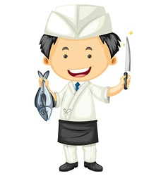 Sushi chef holding fish and knife vector