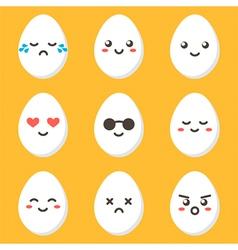 Flat design cartoon cute chicken egg characters vector