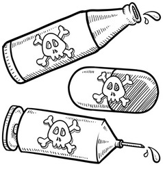Drugs and alcohol with skulls vector image