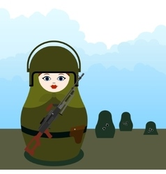 Matryoshka machine gunner vector image