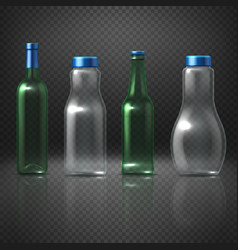 empty glass bottles for alcoholic and vector image