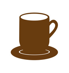 Brown dish porcelain with mug vector