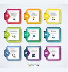 Set of 9 square templates for infographics vector