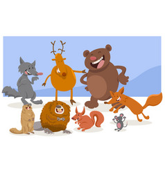 Wild cartoon animal characters vector