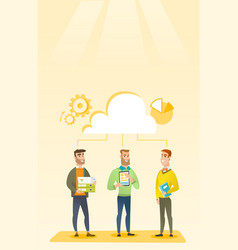 Businessmen and cloud computing technologies vector