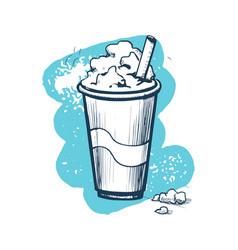 milk shake hand drawn icon vector image