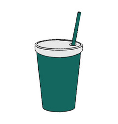 Soda in disposable cup with straw icon image vector