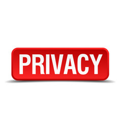 Privacy red 3d square button isolated on white vector