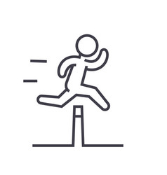 Obstacle race concept flat line vector