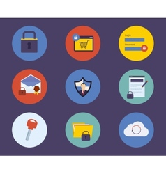 Set of flat design concept icons for technology vector