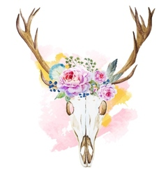 Watercolor deer head with wildflowers vector