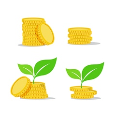 Growing investment coin money and green leaf flat vector