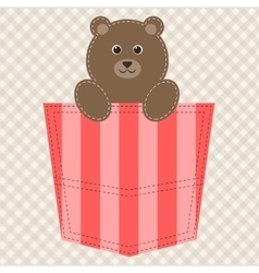 Cartoon teddy bear in pocket vector