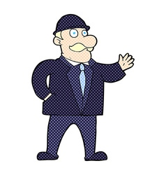 Comic cartoon sensible business man in bowler hat vector