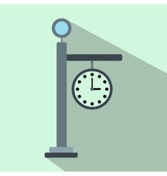 Street clock flat icon vector