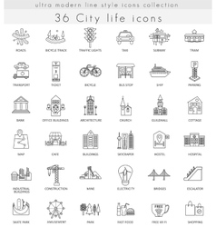 Modern city life ultra modern outline line vector