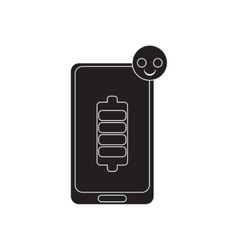 Flat icon in black and white mobile phone vector