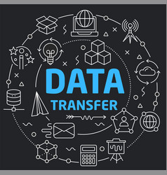 black line flat circle data transfer vector image vector image