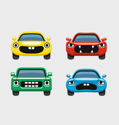 Car emoticon car face smiles icons set vector
