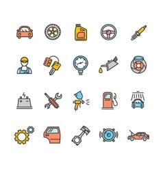Car Service Icon Color Set vector image
