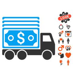 Cash lorry icon with valentine bonus vector