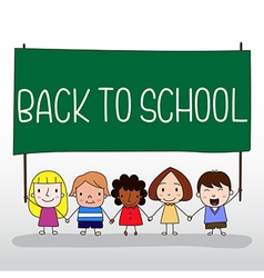 Children holding back to school board vector