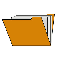 Color image cartoon documents in opened folder vector
