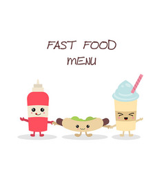 cute fast food meals cute fast food meals vector image