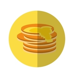Delicious pancakes maple syrup yellow pictogram vector