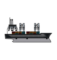 Drawing ship container cargo delivery crane vector