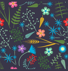 embroidery seamless pattern with forest vector image