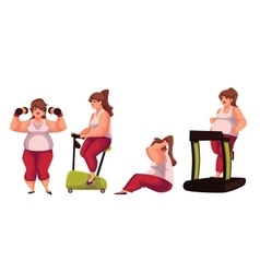 Fat woman doing sport exercises isolated on white vector