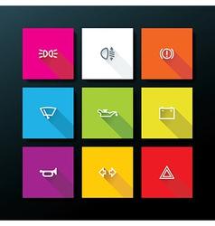 Flat car dashboard icon set vector
