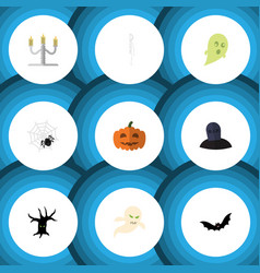 Flat icon halloween set of tomb spinner skeleton vector