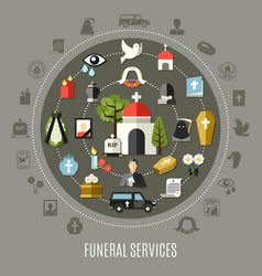 Funeral services concept set vector