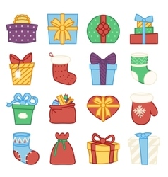 gifts boxes bags socks lineart cartoon doodle vector image vector image