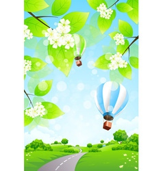 Green Landscape with Balloons vector image vector image