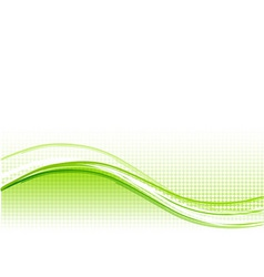 green wave background with lines vector image