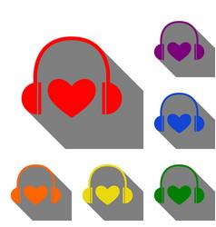 Headphones with heart set of red orange yellow vector