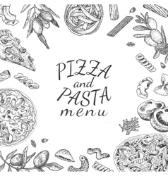 Ink hand drawn pizza and pasta menu template vector