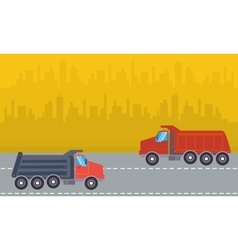 Landscape of two dump truck vector