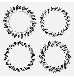Laurel wreath tattoo set Black ornaments nine vector image