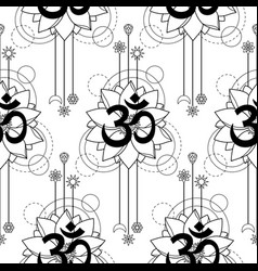 Om and lotus tattoo seamless pattern vector