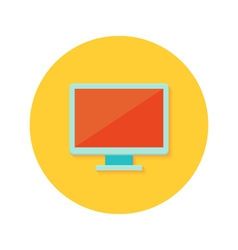 Pc display icon over orange vector