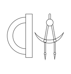 Protractor and compass tool icon outline style vector